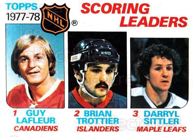 1978-79 Topps #65 Bryan Trottier, Darryl Sittler, Guy Lafleur<br/>7 In Stock - $3.00 each - <a href=https://centericecollectibles.foxycart.com/cart?name=1978-79%20Topps%20%2365%20Bryan%20Trottier,...&quantity_max=7&price=$3.00&code=137291 class=foxycart> Buy it now! </a>