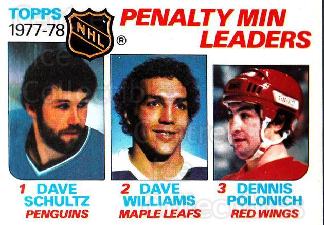1978-79 Topps #66 Dave Schultz, Dave Williams, Dennis Polonich<br/>7 In Stock - $1.00 each - <a href=https://centericecollectibles.foxycart.com/cart?name=1978-79%20Topps%20%2366%20Dave%20Schultz,%20D...&quantity_max=7&price=$1.00&code=137292 class=foxycart> Buy it now! </a>