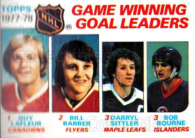 1978-79 Topps #69 Bill Barber, Darryl Sittler, Guy Lafleur, Bob Bourne<br/>10 In Stock - $3.00 each - <a href=https://centericecollectibles.foxycart.com/cart?name=1978-79%20Topps%20%2369%20Bill%20Barber,%20Da...&quantity_max=10&price=$3.00&code=137293 class=foxycart> Buy it now! </a>