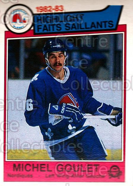 1983-84 O-Pee-Chee #288 Michel Goulet<br/>6 In Stock - $1.00 each - <a href=https://centericecollectibles.foxycart.com/cart?name=1983-84%20O-Pee-Chee%20%23288%20Michel%20Goulet...&quantity_max=6&price=$1.00&code=138115 class=foxycart> Buy it now! </a>