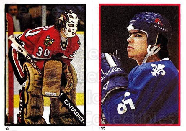 1985-86 O-Pee-Chee Stickers #027-155 Murray Bannerman, JF Sauve<br/>4 In Stock - $2.00 each - <a href=https://centericecollectibles.foxycart.com/cart?name=1985-86%20O-Pee-Chee%20Stickers%20%23027-155%20Murray%20Bannerma...&quantity_max=4&price=$2.00&code=138706 class=foxycart> Buy it now! </a>