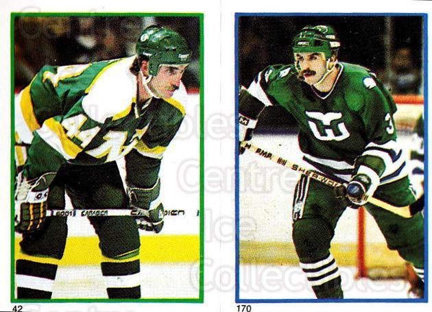 1985-86 O-Pee-Chee Stickers #042-170 Steve Payne, Joel Quenneville<br/>9 In Stock - $2.00 each - <a href=https://centericecollectibles.foxycart.com/cart?name=1985-86%20O-Pee-Chee%20Stickers%20%23042-170%20Steve%20Payne,%20Jo...&quantity_max=9&price=$2.00&code=138722 class=foxycart> Buy it now! </a>