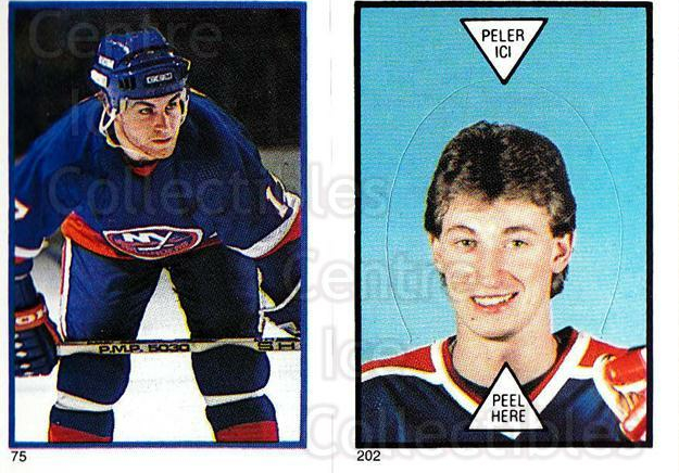 1985-86 O-Pee-Chee Stickers #075-202 Greg Gilbert, Wayne Gretzky<br/>1 In Stock - $10.00 each - <a href=https://centericecollectibles.foxycart.com/cart?name=1985-86%20O-Pee-Chee%20Stickers%20%23075-202%20Greg%20Gilbert,%20W...&quantity_max=1&price=$10.00&code=138754 class=foxycart> Buy it now! </a>