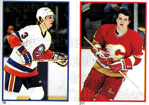 1985-86 O-Pee-Chee Stickers #078-211 Tomas Jonsson, Al MacInnis<br/>8 In Stock - $3.00 each - <a href=https://centericecollectibles.foxycart.com/cart?name=1985-86%20O-Pee-Chee%20Stickers%20%23078-211%20Tomas%20Jonsson,%20...&quantity_max=8&price=$3.00&code=138757 class=foxycart> Buy it now! </a>