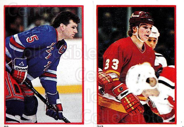 1985-86 O-Pee-Chee Stickers #082-213 Barry Beck, Carey Wilson<br/>11 In Stock - $2.00 each - <a href=https://centericecollectibles.foxycart.com/cart?name=1985-86%20O-Pee-Chee%20Stickers%20%23082-213%20Barry%20Beck,%20Car...&quantity_max=11&price=$2.00&code=138761 class=foxycart> Buy it now! </a>