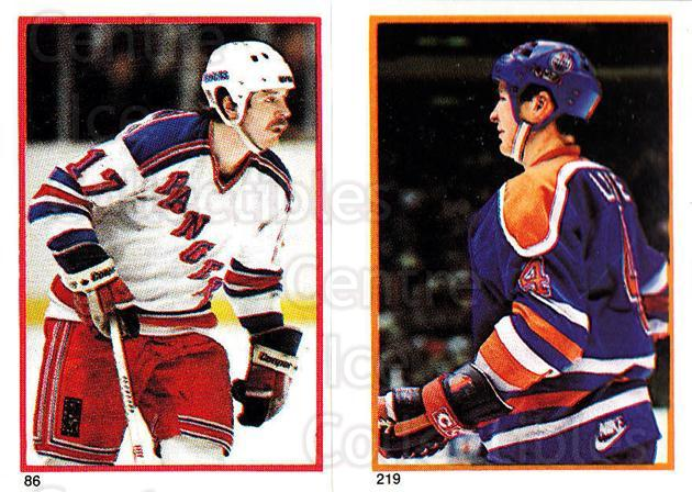 1985-86 O-Pee-Chee Stickers #086-219 Mike Rogers, Kevin Lowe<br/>8 In Stock - $2.00 each - <a href=https://centericecollectibles.foxycart.com/cart?name=1985-86%20O-Pee-Chee%20Stickers%20%23086-219%20Mike%20Rogers,%20Ke...&quantity_max=8&price=$2.00&code=138765 class=foxycart> Buy it now! </a>