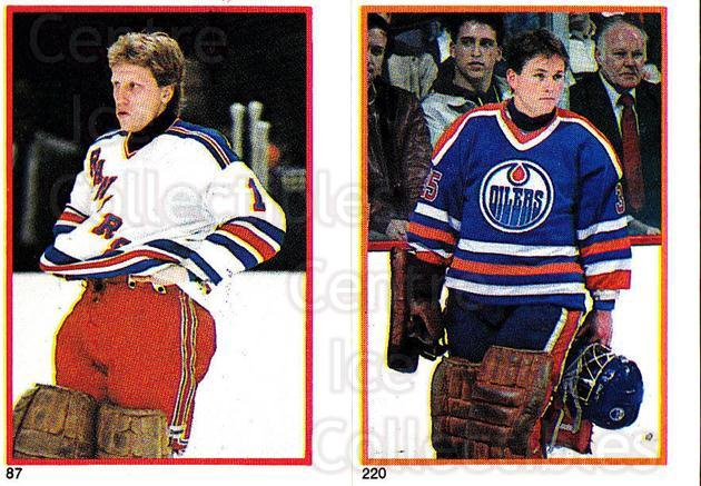 1985-86 O-Pee-Chee Stickers #087-220 Glen Hanlon, Andy Moog<br/>4 In Stock - $2.00 each - <a href=https://centericecollectibles.foxycart.com/cart?name=1985-86%20O-Pee-Chee%20Stickers%20%23087-220%20Glen%20Hanlon,%20An...&quantity_max=4&price=$2.00&code=138766 class=foxycart> Buy it now! </a>