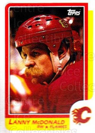 1986-87 Topps #8 Lanny McDonald<br/>3 In Stock - $1.00 each - <a href=https://centericecollectibles.foxycart.com/cart?name=1986-87%20Topps%20%238%20Lanny%20McDonald...&quantity_max=3&price=$1.00&code=138888 class=foxycart> Buy it now! </a>