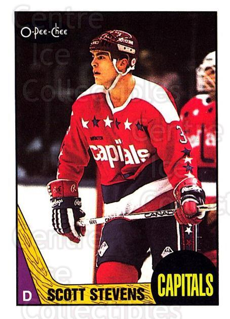 1987-88 O-Pee-Chee #25 Scott Stevens<br/>8 In Stock - $2.00 each - <a href=https://centericecollectibles.foxycart.com/cart?name=1987-88%20O-Pee-Chee%20%2325%20Scott%20Stevens...&quantity_max=8&price=$2.00&code=138911 class=foxycart> Buy it now! </a>