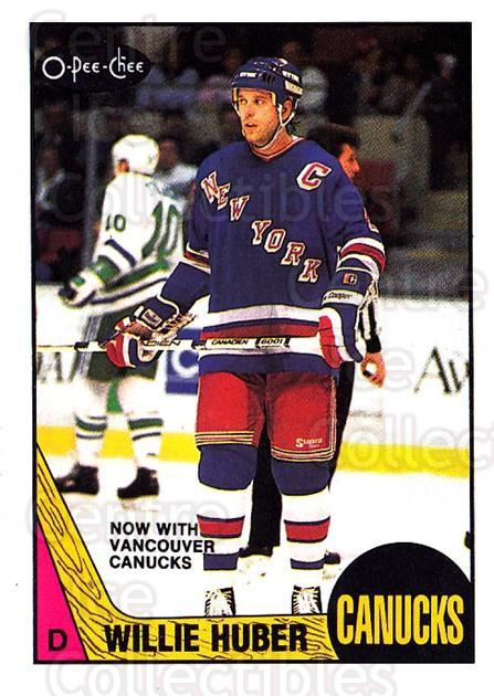 1987-88 O-Pee-Chee #93 Willie Huber<br/>9 In Stock - $1.00 each - <a href=https://centericecollectibles.foxycart.com/cart?name=1987-88%20O-Pee-Chee%20%2393%20Willie%20Huber...&quantity_max=9&price=$1.00&code=138996 class=foxycart> Buy it now! </a>