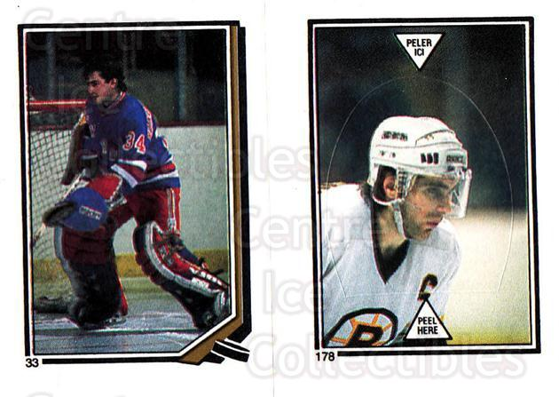 1987-88 O-Pee-Chee Stickers #033-178 John Vanbiesbrouck, Ray Bourque<br/>7 In Stock - $2.00 each - <a href=https://centericecollectibles.foxycart.com/cart?name=1987-88%20O-Pee-Chee%20Stickers%20%23033-178%20John%20Vanbiesbro...&quantity_max=7&price=$2.00&code=139022 class=foxycart> Buy it now! </a>
