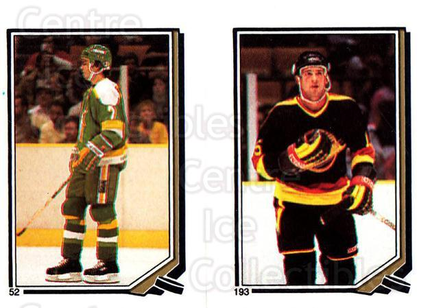1987-88 O-Pee-Chee Stickers #052-193 Neal Broten, Rich Sutter<br/>9 In Stock - $2.00 each - <a href=https://centericecollectibles.foxycart.com/cart?name=1987-88%20O-Pee-Chee%20Stickers%20%23052-193%20Neal%20Broten,%20Ri...&quantity_max=9&price=$2.00&code=139040 class=foxycart> Buy it now! </a>