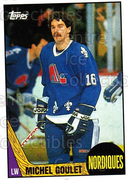 1987-88 Topps #77 Michel Goulet<br/>7 In Stock - $1.00 each - <a href=https://centericecollectibles.foxycart.com/cart?name=1987-88%20Topps%20%2377%20Michel%20Goulet...&quantity_max=7&price=$1.00&code=139168 class=foxycart> Buy it now! </a>