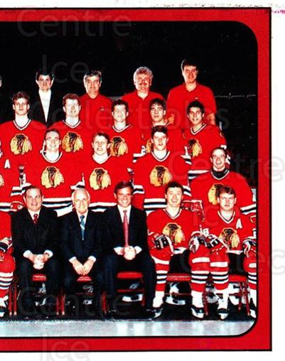 1988-89 Panini Stickers #33 Chicago Blackhawks, Team Photo<br/>5 In Stock - $1.00 each - <a href=https://centericecollectibles.foxycart.com/cart?name=1988-89%20Panini%20Stickers%20%2333%20Chicago%20Blackha...&price=$1.00&code=139375 class=foxycart> Buy it now! </a>