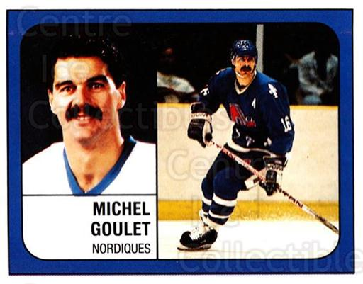 1988-89 Panini Stickers #355 Michel Goulet<br/>5 In Stock - $1.00 each - <a href=https://centericecollectibles.foxycart.com/cart?name=1988-89%20Panini%20Stickers%20%23355%20Michel%20Goulet...&quantity_max=5&price=$1.00&code=139398 class=foxycart> Buy it now! </a>