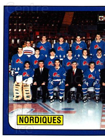 1988-89 Panini Stickers #359 Quebec Nordiques, Team Photo<br/>4 In Stock - $1.00 each - <a href=https://centericecollectibles.foxycart.com/cart?name=1988-89%20Panini%20Stickers%20%23359%20Quebec%20Nordique...&price=$1.00&code=139402 class=foxycart> Buy it now! </a>