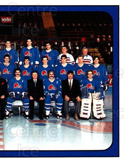1988-89 Panini Stickers #360 Quebec Nordiques, Team Photo<br/>5 In Stock - $1.00 each - <a href=https://centericecollectibles.foxycart.com/cart?name=1988-89%20Panini%20Stickers%20%23360%20Quebec%20Nordique...&price=$1.00&code=139403 class=foxycart> Buy it now! </a>