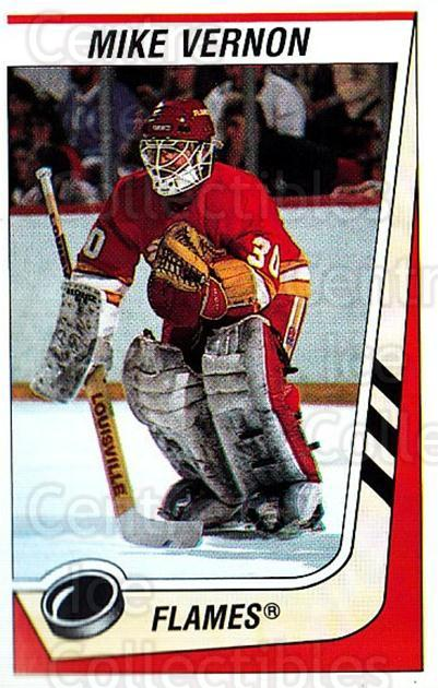1989-90 Panini Stickers #34 Mike Vernon<br/>3 In Stock - $1.00 each - <a href=https://centericecollectibles.foxycart.com/cart?name=1989-90%20Panini%20Stickers%20%2334%20Mike%20Vernon...&quantity_max=3&price=$1.00&code=140042 class=foxycart> Buy it now! </a>