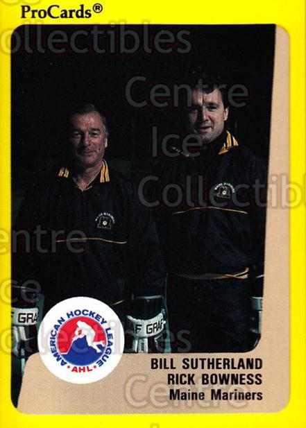 1989-90 ProCards AHL #75 Bill Sutherland, Rick Bowness<br/>11 In Stock - $2.00 each - <a href=https://centericecollectibles.foxycart.com/cart?name=1989-90%20ProCards%20AHL%20%2375%20Bill%20Sutherland...&price=$2.00&code=140326 class=foxycart> Buy it now! </a>