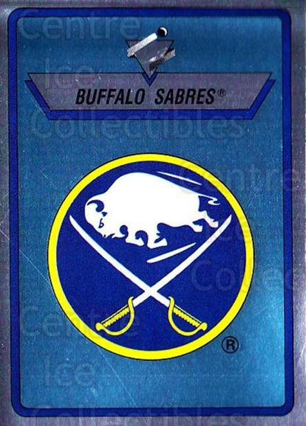 1990-91 Panini Stickers #27 Buffalo Sabres<br/>11 In Stock - $1.00 each - <a href=https://centericecollectibles.foxycart.com/cart?name=1990-91%20Panini%20Stickers%20%2327%20Buffalo%20Sabres...&quantity_max=11&price=$1.00&code=141175 class=foxycart> Buy it now! </a>