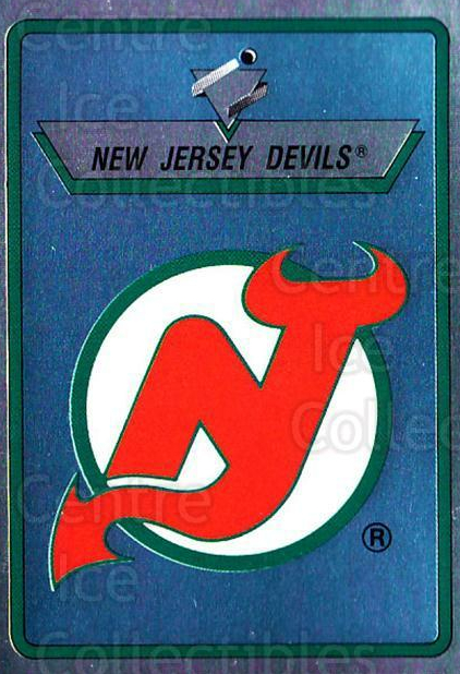 1990-91 Panini Stickers #72 New Jersey Devils<br/>10 In Stock - $1.00 each - <a href=https://centericecollectibles.foxycart.com/cart?name=1990-91%20Panini%20Stickers%20%2372%20New%20Jersey%20Devi...&quantity_max=10&price=$1.00&code=141302 class=foxycart> Buy it now! </a>