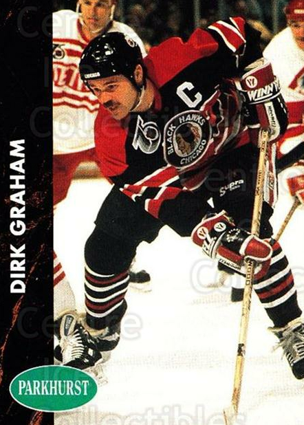 1991-92 Parkhurst #33 Dirk Graham<br/>5 In Stock - $1.00 each - <a href=https://centericecollectibles.foxycart.com/cart?name=1991-92%20Parkhurst%20%2333%20Dirk%20Graham...&quantity_max=5&price=$1.00&code=143413 class=foxycart> Buy it now! </a>