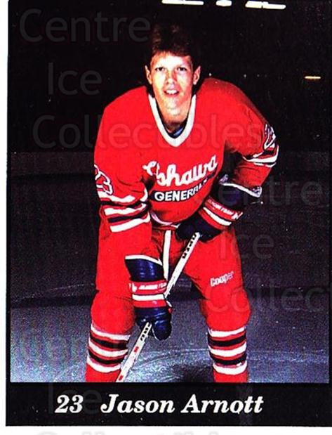 1991-92 Oshawa Generals B #14 Jason Arnott<br/>4 In Stock - $3.00 each - <a href=https://centericecollectibles.foxycart.com/cart?name=1991-92%20Oshawa%20Generals%20B%20%2314%20Jason%20Arnott...&quantity_max=4&price=$3.00&code=14351 class=foxycart> Buy it now! </a>