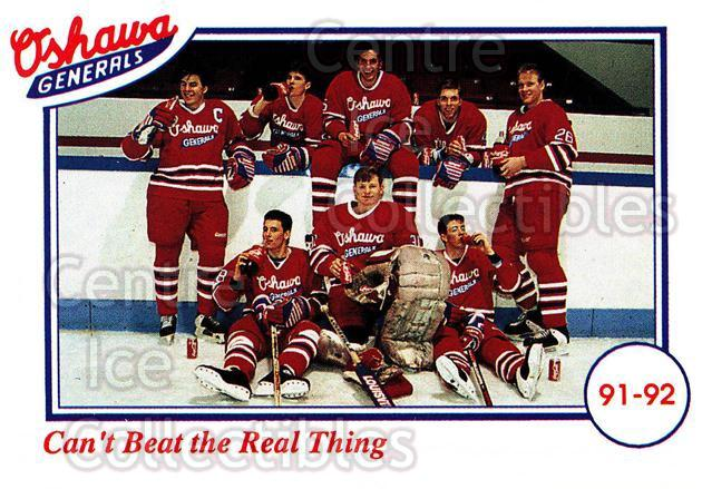 1991-92 Oshawa Generals Set A #24 Oshawa Generals, Team Photo<br/>8 In Stock - $2.00 each - <a href=https://centericecollectibles.foxycart.com/cart?name=1991-92%20Oshawa%20Generals%20Set%20A%20%2324%20Oshawa%20Generals...&price=$2.00&code=14385 class=foxycart> Buy it now! </a>