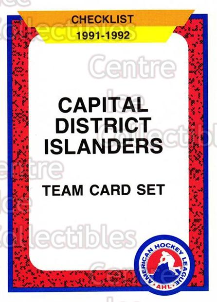 1991-92 ProCards AHL IHL #476 CapitalDistrict Islanders, Checklist<br/>4 In Stock - $2.00 each - <a href=https://centericecollectibles.foxycart.com/cart?name=1991-92%20ProCards%20AHL%20IHL%20%23476%20CapitalDistrict...&price=$2.00&code=144391 class=foxycart> Buy it now! </a>