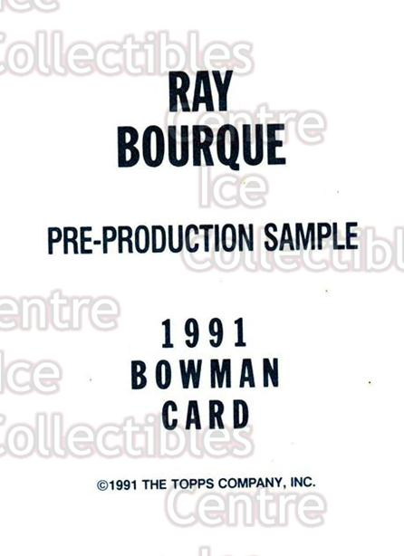 1991-92 Bowman Promos #nno Ray Bourque<br/>29 In Stock - $2.00 each - <a href=https://centericecollectibles.foxycart.com/cart?name=1991-92%20Bowman%20Promos%20%23nno%20Ray%20Bourque...&quantity_max=29&price=$2.00&code=144501 class=foxycart> Buy it now! </a>