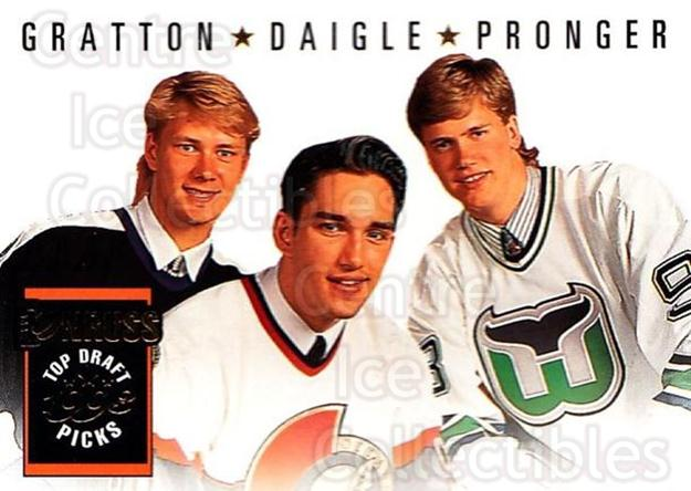 1993-94 Donruss #393 Alexandre Daigle, Chris Pronger, Chris Gratton<br/>5 In Stock - $1.00 each - <a href=https://centericecollectibles.foxycart.com/cart?name=1993-94%20Donruss%20%23393%20Alexandre%20Daigl...&quantity_max=5&price=$1.00&code=146317 class=foxycart> Buy it now! </a>