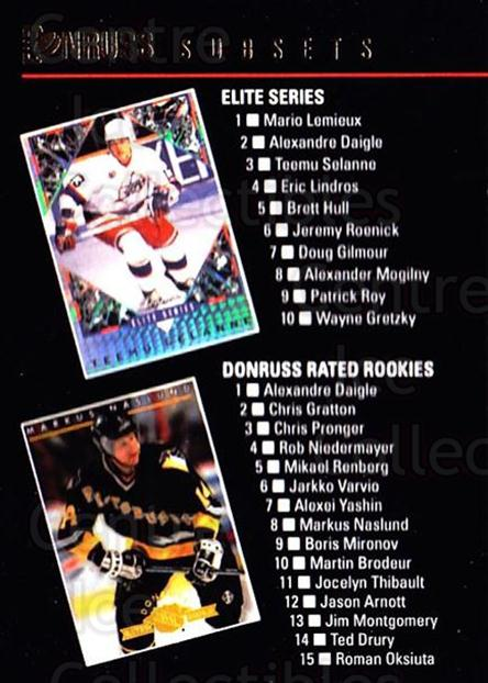 1993-94 Donruss #396 Teemu Selanne, Markus Naslund, Wayne Gretzky, Patrick Roy, Checklist<br/>1 In Stock - $2.00 each - <a href=https://centericecollectibles.foxycart.com/cart?name=1993-94%20Donruss%20%23396%20Teemu%20Selanne,%20...&quantity_max=1&price=$2.00&code=146320 class=foxycart> Buy it now! </a>