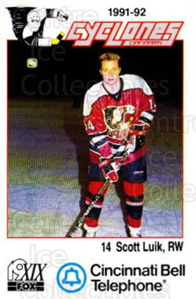 1991-92 Cincinnati Cyclones #12 Scott Luik<br/>5 In Stock - $3.00 each - <a href=https://centericecollectibles.foxycart.com/cart?name=1991-92%20Cincinnati%20Cyclones%20%2312%20Scott%20Luik...&quantity_max=5&price=$3.00&code=14674 class=foxycart> Buy it now! </a>