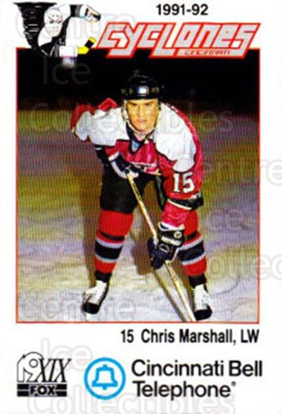 1991-92 Cincinnati Cyclones #13 Chris Marshall<br/>1 In Stock - $3.00 each - <a href=https://centericecollectibles.foxycart.com/cart?name=1991-92%20Cincinnati%20Cyclones%20%2313%20Chris%20Marshall...&quantity_max=1&price=$3.00&code=14675 class=foxycart> Buy it now! </a>