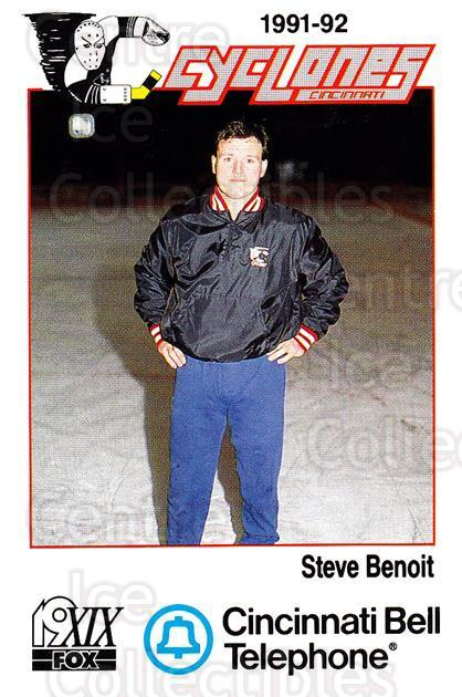 1991-92 Cincinnati Cyclones #2 Steve Benoit<br/>6 In Stock - $3.00 each - <a href=https://centericecollectibles.foxycart.com/cart?name=1991-92%20Cincinnati%20Cyclones%20%232%20Steve%20Benoit...&quantity_max=6&price=$3.00&code=14681 class=foxycart> Buy it now! </a>