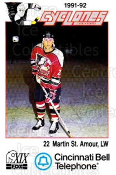 1991-92 Cincinnati Cyclones #20 Martin St.Amour<br/>3 In Stock - $3.00 each - <a href=https://centericecollectibles.foxycart.com/cart?name=1991-92%20Cincinnati%20Cyclones%20%2320%20Martin%20St.Amour...&quantity_max=3&price=$3.00&code=14682 class=foxycart> Buy it now! </a>