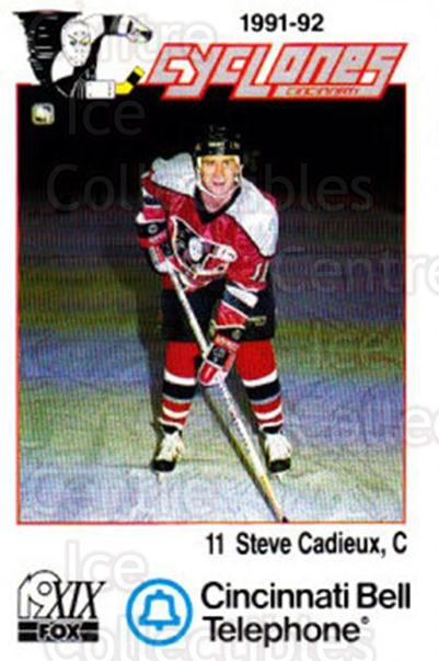 1991-92 Cincinnati Cyclones #3 Steve Cadieux<br/>5 In Stock - $3.00 each - <a href=https://centericecollectibles.foxycart.com/cart?name=1991-92%20Cincinnati%20Cyclones%20%233%20Steve%20Cadieux...&quantity_max=5&price=$3.00&code=14688 class=foxycart> Buy it now! </a>