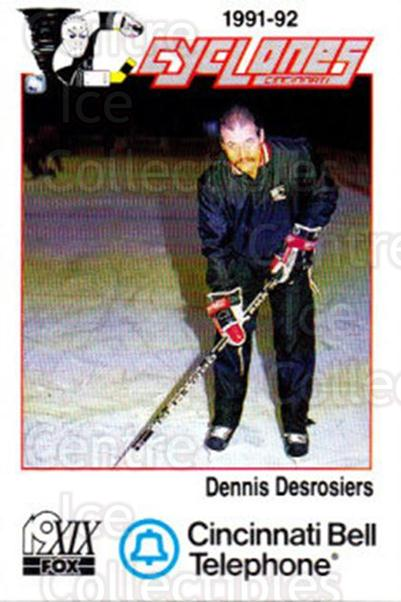 1991-92 Cincinnati Cyclones #7 Dennis Desrosiers<br/>1 In Stock - $3.00 each - <a href=https://centericecollectibles.foxycart.com/cart?name=1991-92%20Cincinnati%20Cyclones%20%237%20Dennis%20Desrosie...&quantity_max=1&price=$3.00&code=14692 class=foxycart> Buy it now! </a>
