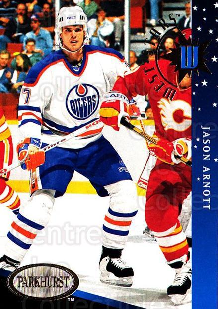 1993-94 Parkhurst West Stars #8 Jason Arnott<br/>4 In Stock - $3.00 each - <a href=https://centericecollectibles.foxycart.com/cart?name=1993-94%20Parkhurst%20West%20Stars%20%238%20Jason%20Arnott...&quantity_max=4&price=$3.00&code=146975 class=foxycart> Buy it now! </a>