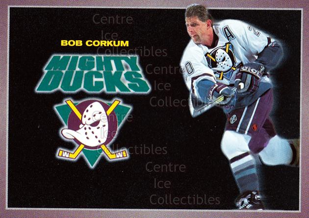 1994-95 Anaheim Mighty Ducks Carls Jr. #2 Bob Corkum<br/>14 In Stock - $3.00 each - <a href=https://centericecollectibles.foxycart.com/cart?name=1994-95%20Anaheim%20Mighty%20Ducks%20Carls%20Jr.%20%232%20Bob%20Corkum...&quantity_max=14&price=$3.00&code=1472 class=foxycart> Buy it now! </a>