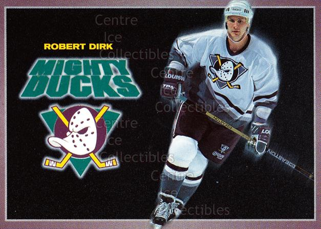 1994-95 Anaheim Mighty Ducks Carls Jr. #3 Robert Dirk<br/>14 In Stock - $3.00 each - <a href=https://centericecollectibles.foxycart.com/cart?name=1994-95%20Anaheim%20Mighty%20Ducks%20Carls%20Jr.%20%233%20Robert%20Dirk...&quantity_max=14&price=$3.00&code=1480 class=foxycart> Buy it now! </a>