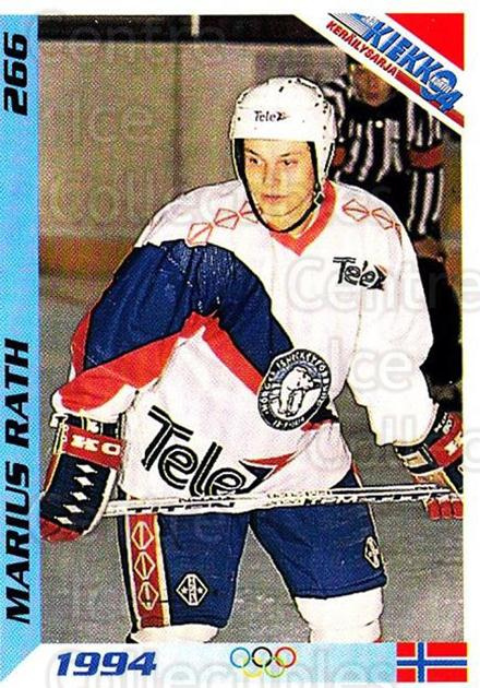 1994 Finnish Jaa Kiekko #266 Marius Rath<br/>4 In Stock - $2.00 each - <a href=https://centericecollectibles.foxycart.com/cart?name=1994%20Finnish%20Jaa%20Kiekko%20%23266%20Marius%20Rath...&quantity_max=4&price=$2.00&code=149359 class=foxycart> Buy it now! </a>