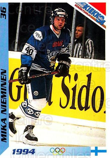 1994 Finnish Jaa Kiekko #36 Mika Nieminen<br/>7 In Stock - $2.00 each - <a href=https://centericecollectibles.foxycart.com/cart?name=1994%20Finnish%20Jaa%20Kiekko%20%2336%20Mika%20Nieminen...&quantity_max=7&price=$2.00&code=149432 class=foxycart> Buy it now! </a>