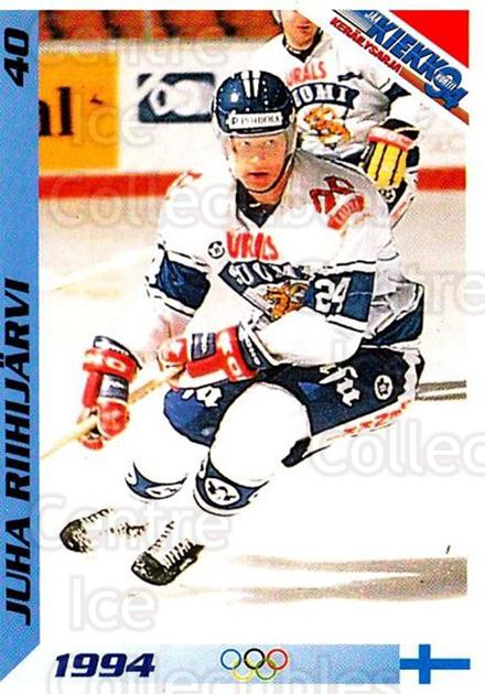 1994 Finnish Jaa Kiekko #40 Juha Riihijarvi<br/>4 In Stock - $2.00 each - <a href=https://centericecollectibles.foxycart.com/cart?name=1994%20Finnish%20Jaa%20Kiekko%20%2340%20Juha%20Riihijarvi...&quantity_max=4&price=$2.00&code=149438 class=foxycart> Buy it now! </a>