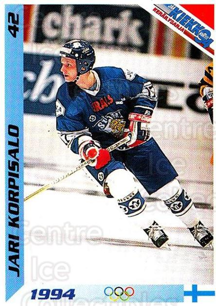 1994 Finnish Jaa Kiekko #42 Jari Korpisalo<br/>4 In Stock - $2.00 each - <a href=https://centericecollectibles.foxycart.com/cart?name=1994%20Finnish%20Jaa%20Kiekko%20%2342%20Jari%20Korpisalo...&quantity_max=4&price=$2.00&code=149440 class=foxycart> Buy it now! </a>