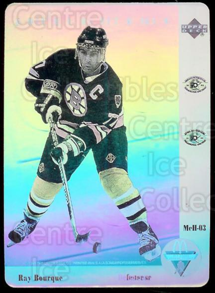 1991-92 McDonald's Upper Deck Hologram #3 Ray Bourque<br/>10 In Stock - $2.00 each - <a href=https://centericecollectibles.foxycart.com/cart?name=1991-92%20McDonald's%20Upper%20Deck%20Hologram%20%233%20Ray%20Bourque...&price=$2.00&code=15065 class=foxycart> Buy it now! </a>