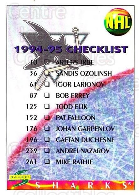 1994-95 Score #273 San Jose Sharks, Tampa Bay Lightning, Checklist<br/>5 In Stock - $1.00 each - <a href=https://centericecollectibles.foxycart.com/cart?name=1994-95%20Score%20%23273%20San%20Jose%20Sharks...&quantity_max=5&price=$1.00&code=151929 class=foxycart> Buy it now! </a>