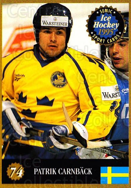 1995 Finnish Semic World Championships #74 Patrik Carnback<br/>4 In Stock - $2.00 each - <a href=https://centericecollectibles.foxycart.com/cart?name=1995%20Finnish%20Semic%20World%20Championships%20%2374%20Patrik%20Carnback...&quantity_max=4&price=$2.00&code=152941 class=foxycart> Buy it now! </a>