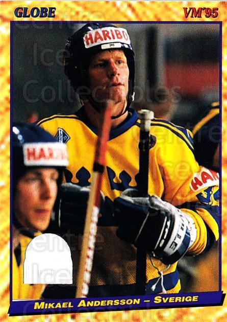 1995 Swedish Globe World Championships #42 Mikael Andersson<br/>12 In Stock - $2.00 each - <a href=https://centericecollectibles.foxycart.com/cart?name=1995%20Swedish%20Globe%20World%20Championships%20%2342%20Mikael%20Andersso...&price=$2.00&code=152978 class=foxycart> Buy it now! </a>