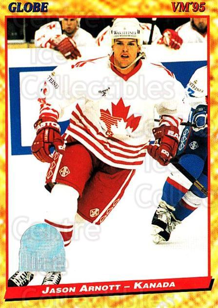 1995 Swedish Globe World Championships #95 Jason Arnott<br/>13 In Stock - $2.00 each - <a href=https://centericecollectibles.foxycart.com/cart?name=1995%20Swedish%20Globe%20World%20Championships%20%2395%20Jason%20Arnott...&quantity_max=13&price=$2.00&code=153015 class=foxycart> Buy it now! </a>